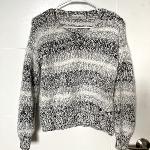 Black, grey, and white fuzzy sweater